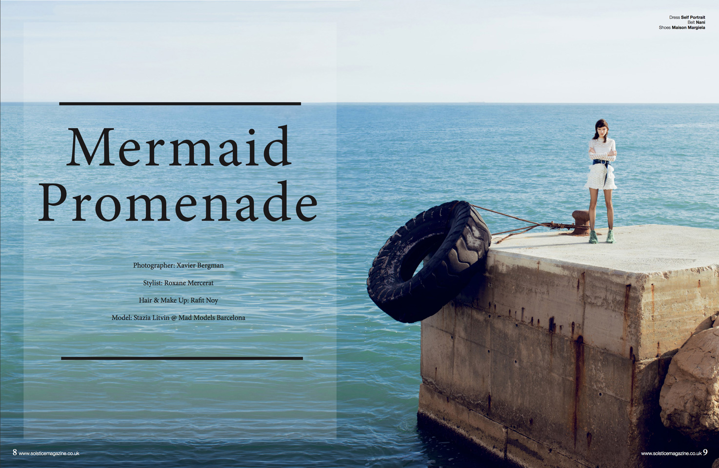 Editorial Mermaid Promenade for Solstice Magazine by Xavier Bergman of model Stazia Litvin from Mad Models Management with Stylist Roxane Mercerat and Makeup artist Rafitnoy